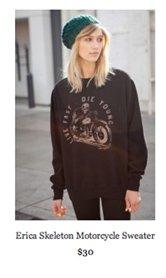 Erica skeleton motorcycle sweater