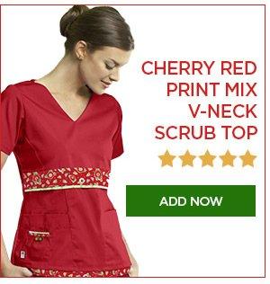 Cherry Red Print Mix V-Neck Scrub Top - Add Now