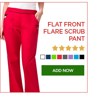 Flat Front Flare Scrub Pant - Add Now