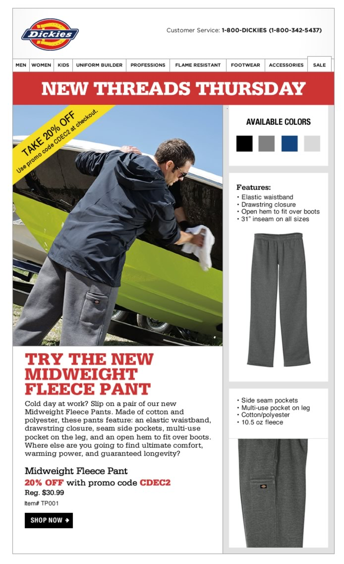New Threads Thursday: Midweight Fleece Pant