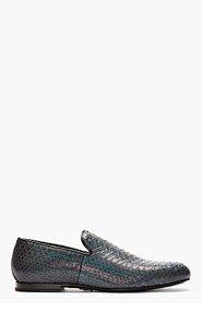 JIMMY CHOO Dark Grey Iridescent Snakeskin Sloane Loafers for men