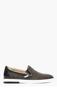 JIMMY CHOO Black leather & suede studded GROVE slip-ons for men