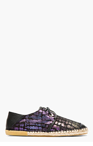 JIMMY CHOO Black & purple iridescent PERCY shoes for men