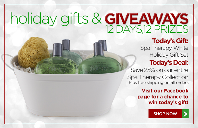 12 Days of Gifts & Giveaways: 25% off our Spa Therapy Collection + free shipping on all orders.