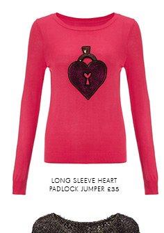 Long Sleeve Heart Padlock Jumper