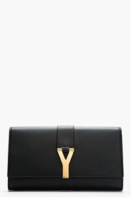 SAINT LAURENT Black Leather Chyc Clutch for women