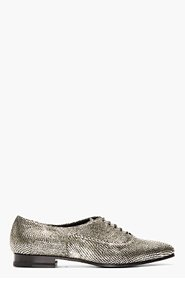 SAINT LAURENT Pewter Textured Leather Oxfords for women