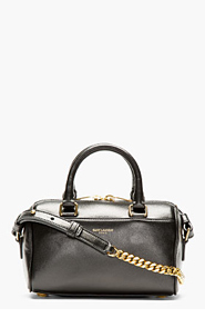 SAINT LAURENT Black Leather Toy Duffle Shoulder Bag for women