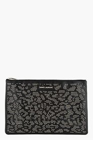 SAINT LAURENT Black Studded Leather Letters Zip Clutch for women