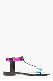 SAINT LAURENT Magenta & Blue Metallic Leather Sandals for women