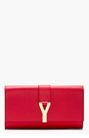 SAINT LAURENT Red leather Y clutch for women