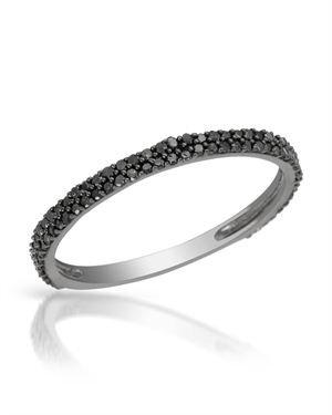 Ladies Diamond Ring Made Of 14K Black Gold