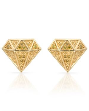 Gold Plated Silver Earrings with 0.11 CTW Diamonds