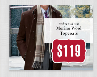 $119 USD - Merino Wool Topcoats
