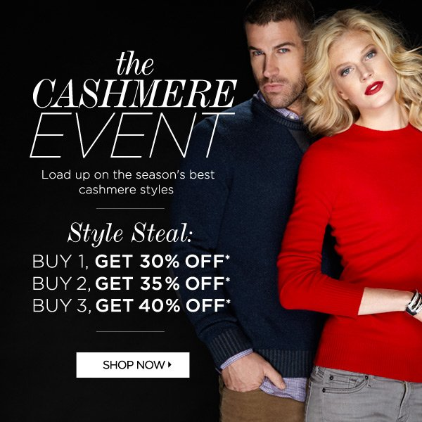 Cashmere Sale Up to 40% Off*