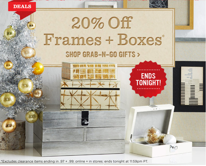 20% off frames + boxes*. Shop grab-n-go gifts.