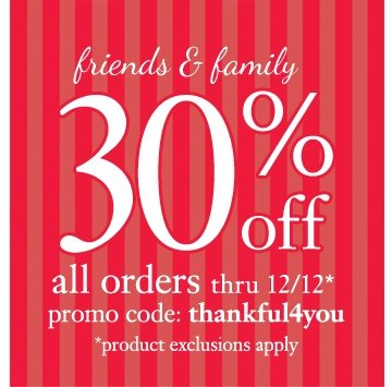 30% all orders, no minimum on philosophy.com thru 12.12. must enter promotion code thankful4you
