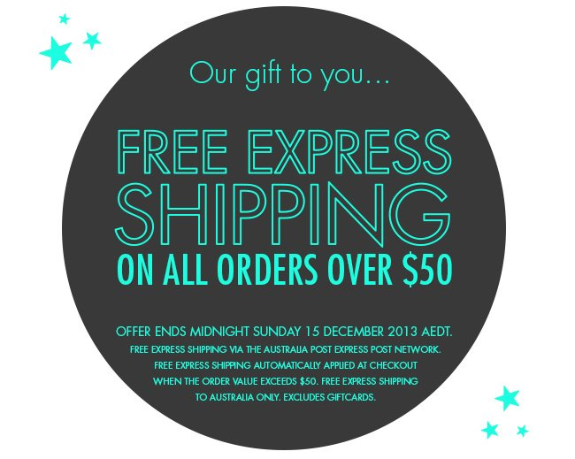 Free express shipping on all Australian orders over $50 this weekend