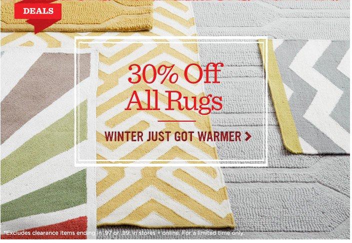 30% off all rugs. Winter just got warmer.