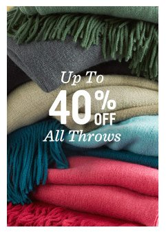 Up to 40% off all throws