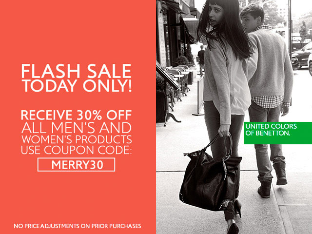 Party Prep! Save 30% off Winter/Holiday fashions for Women + Men. Today only!