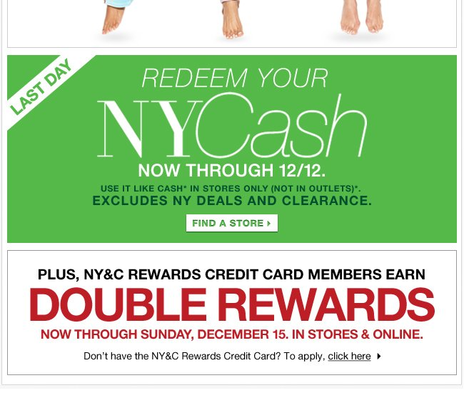 Last Day to Redeem Your NYCash In Stores!