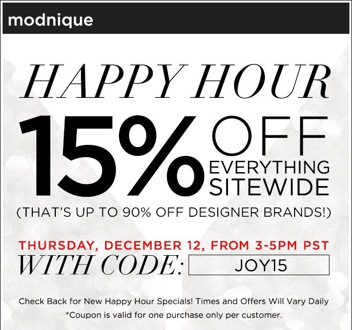 Happy Hour - 5% Off Everything Sitewide