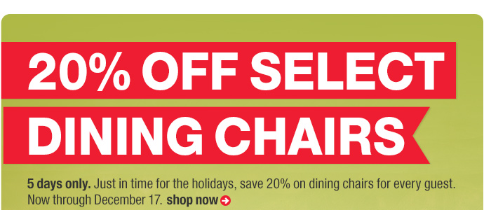 20% off select dining chairs