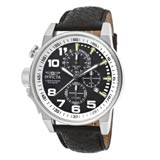 Invicta 13053 Men's I-Force Lefty Black Dial Leather Strap Chronograph Stainless Steel Watch