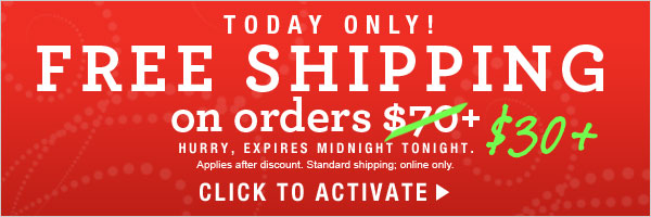 TODAY ONLY: Free Standard Shipping Offer on $30+ orders