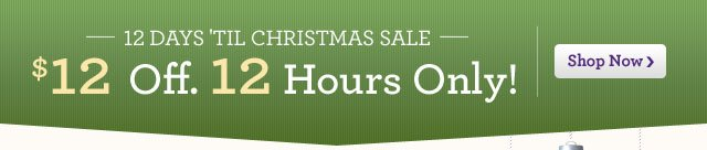 $12 Off. 12 Hours Only! 12 Days 'Til Christmas Sale Shop Now