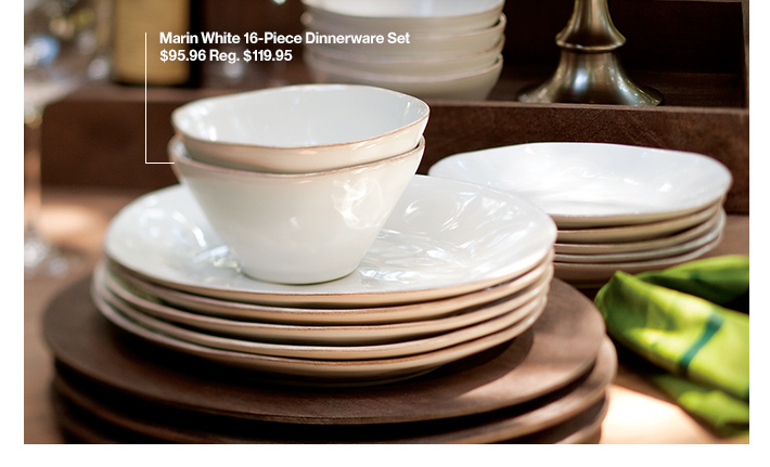 Marin White 16-Piece Dinnerware Set $95.96  Reg. $119.95