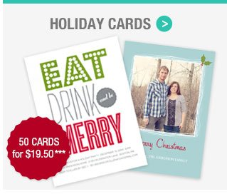 Holiday Photo Flat Cards: 50 cards for $19.50