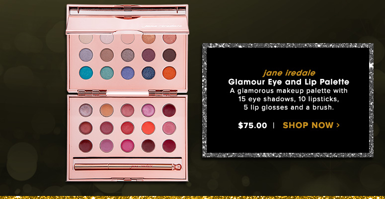 jane iredale Glamour Eye and Lip PaletteA glamorous makeup palette with 15 eye shadows, 10 lipsticks, 5 lip glosses and a brush.$75.00Shop Now>>