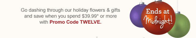 Go dashing through our holiday flowers & gifts and save when you spend $39.99* or more with Promo Code TWELVE.   Shop Now