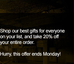 20% Off Your Entire Order