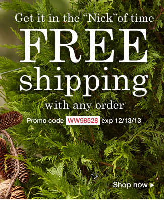 Free Shipping with any order. Use promo code WW98528. Expires 12/13/13
