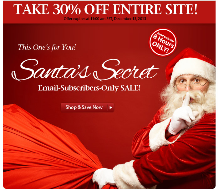 8-Hours Only: 30% OFF Entire Site at Santa's Secret Sale!