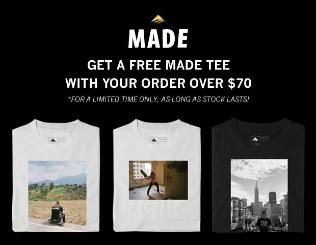 Free Made Tee with your order over 70 USD