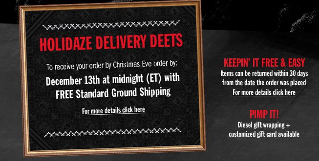 HOLIDAZE DELIVERY DEETS.  FOR MORE DETAILS CLICK HERE.