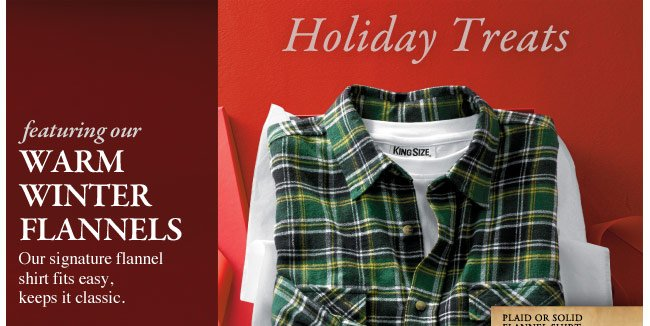 holiday treats featuring our warm winter flannels - click the link below