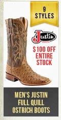 Mens Justin Ostrich Boots