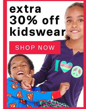 Extra 30% Off Kidswear. Shop Now