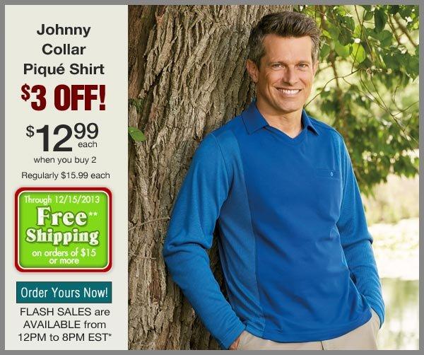 $3 OFF Johnny Pique Collar Shirt