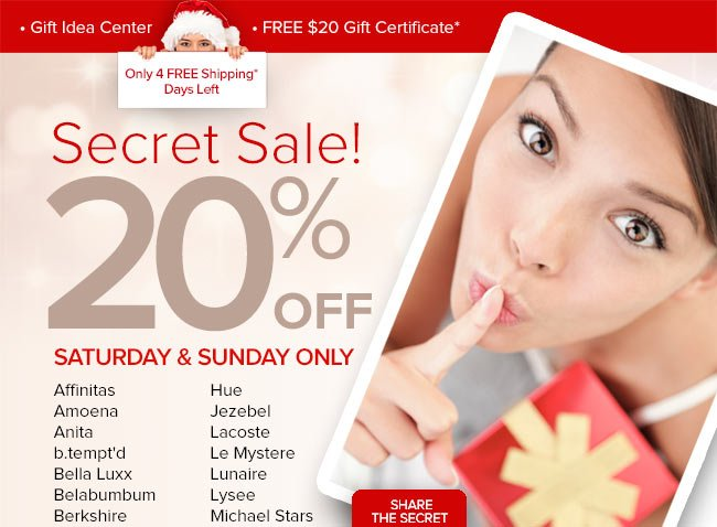 Secret Sale Today & Tomorrow Only