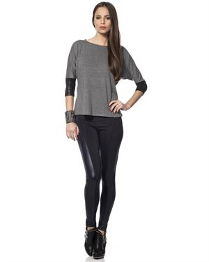 L'Adore Solid Color Paneled Leggings Made In Europe