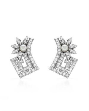 Sterling Silver Earrings with 2.58 CTW Pearls , Cubic Zirconia