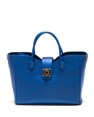 Roberta M. Turn-lock Genuine Leather Tote Made In Italy