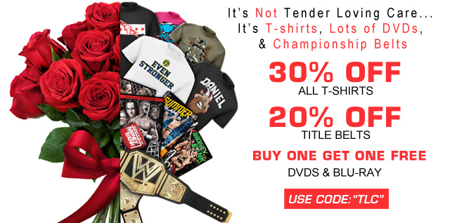 Get 20% off Title Belts & 30% off T-shirts + Buy One Get One DVDs & Blu-rays!