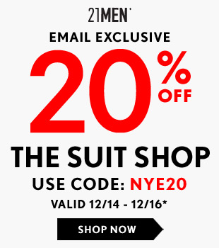 Email Only: 20% Off MEN's Suit Shop